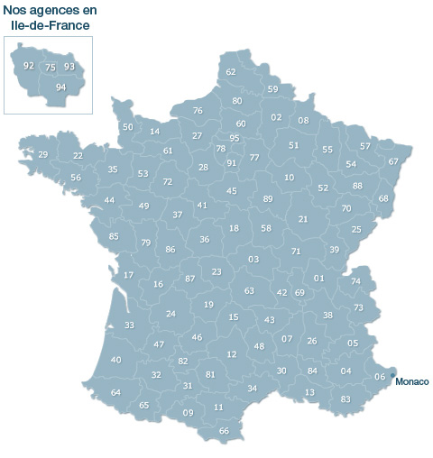 carte de France des agences Manpower